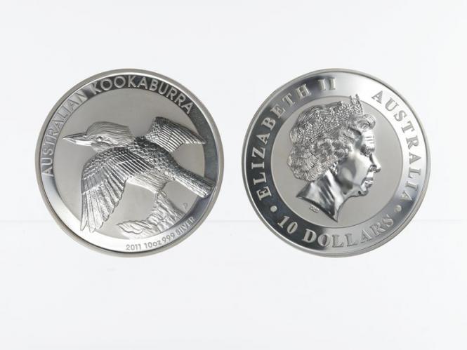 Australien 10$ Kookaburra 2011, 10 oz  Silber