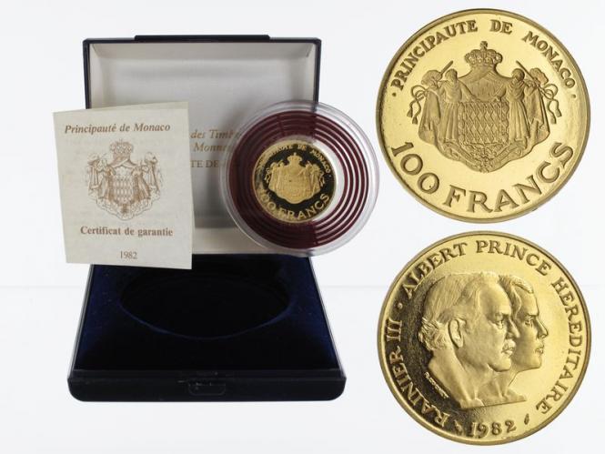 Monaco 100 Fr. Gold, 1982, Rainer + Albert, Piefort