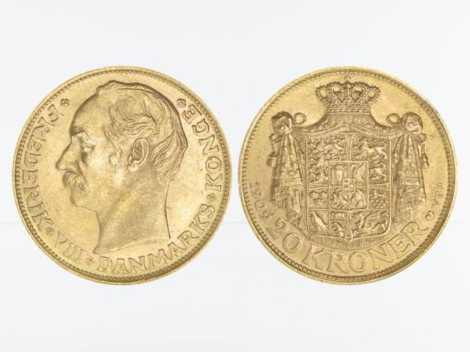 Dänemark Frederik VIII  1909, 20 Kroner Gold