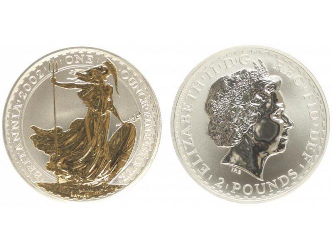 GB 2 Pfd. Silber Britannia 2002 gildet, 1 oz