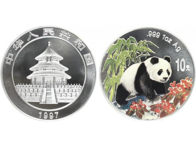 China 10 Yu Panda  1997 farbig, 1 oz  Silber