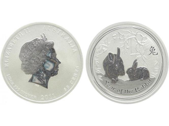 Australien 1/2$ Hase Lunar II  2011, 1/2 oz  Silber