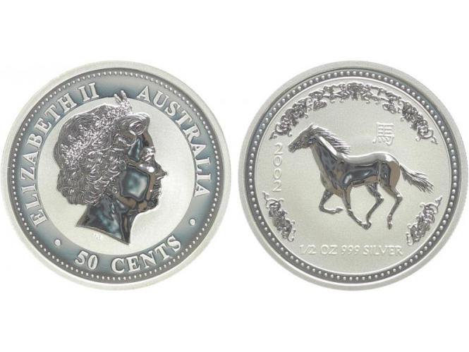Australien 1/2$ $ Pferd Lunar I  2002, 1/2 oz  Silber