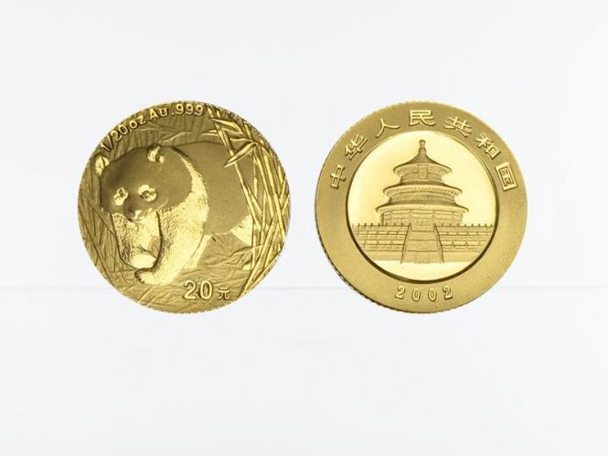 China 20 Yu  Panda 2002, 1/20 Unze Feingold