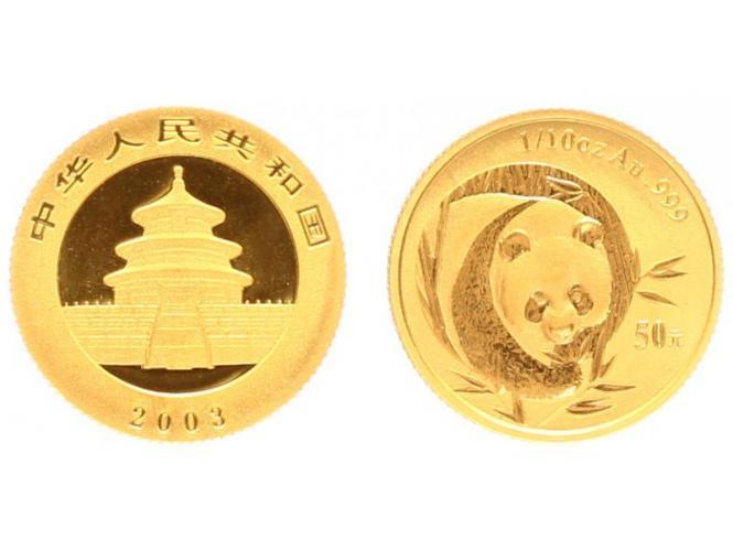China 50 Yu  Panda 2003, 1/10 Unze Feingold