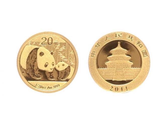 China 20 Yu  Panda 2011, 1/20 Unze Feingold