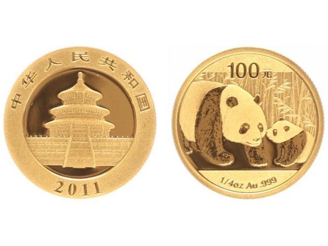 China 100 Yu  Panda 2011, 1/4 Unze Feingold