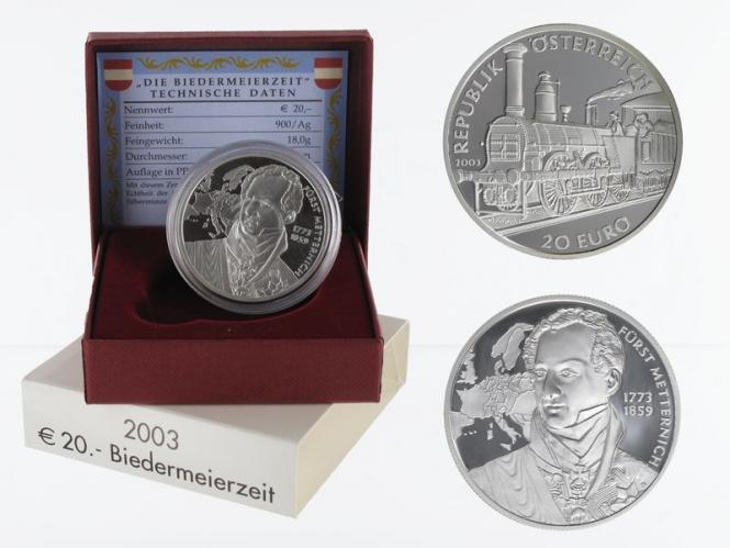 Österreich 20 Euro Silber, 2003, Biedermeierzeit PP