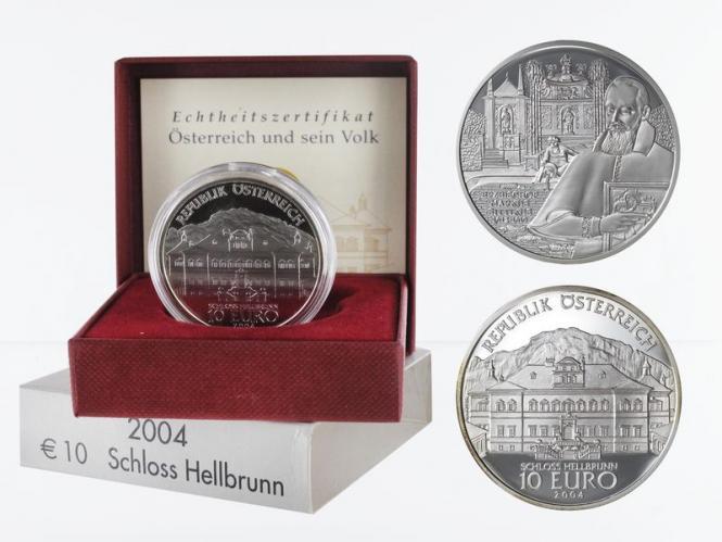 Österreich 10 Euro Silber, 2004, Schloss Hellbrunn PP
