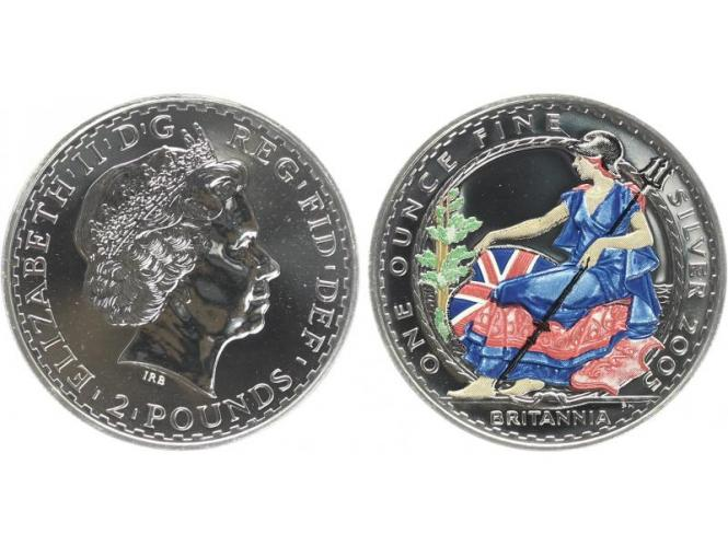 GB 2 Pfd. Silber Britannia 2005 farbig, 1 oz