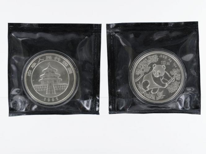 China 10 Yu Panda  1992 (Typ 1), 1 oz  Silber Folie
