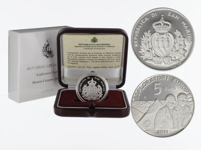 San Marino 5 € Entdecker Pazzaglia 2011 PP, Silber