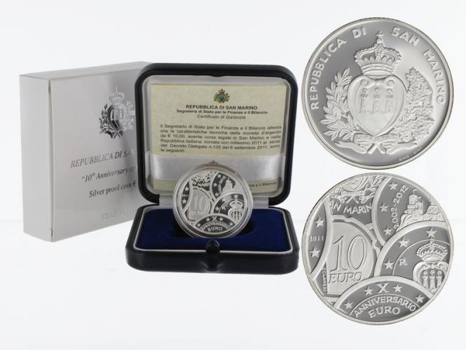 San Marino 10 € 10. Jahrestag Euro 2011 PP, Silber