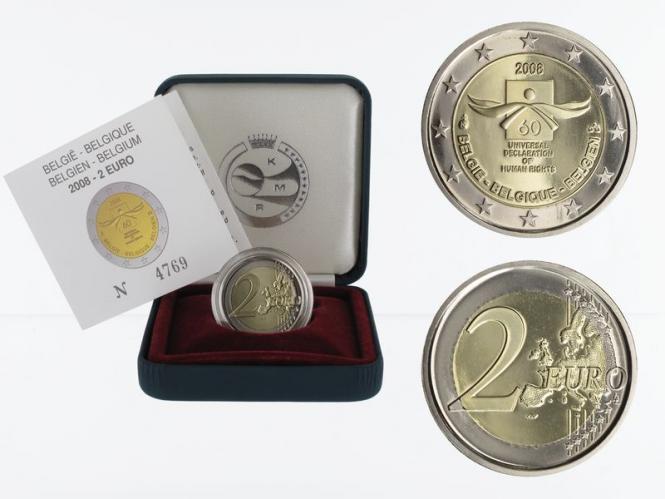 Belgien 2 € Menschenrechte, 2008 PP in Originalbox