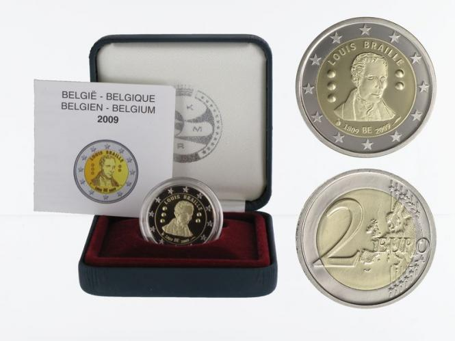 Belgien 2 € Louis Braille, 2009 PP in Originalbox