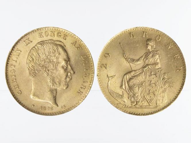 Dänemark Christian IX 1876, 20 Kroner Gold