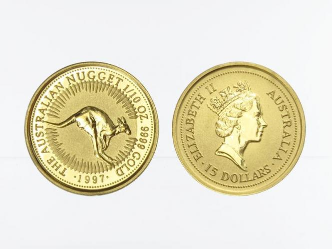 Australien 15 $ Nugget Känguru, 1/10 Unze  1997