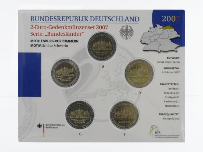 2007 Schloß Schwerin (5) A D F G J kpl. Stgl., Blister