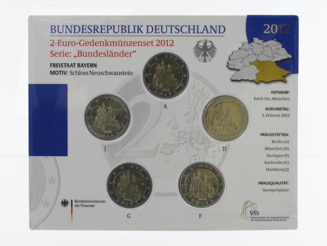 2012 Neuschwanstein (5) A D F G J kpl. Stgl., Blister