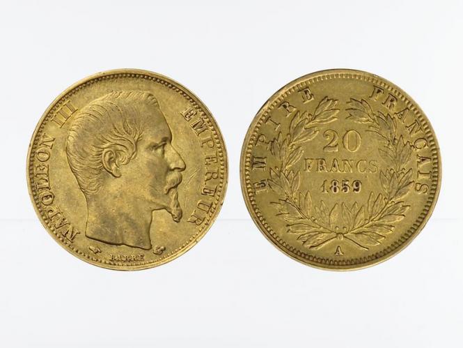 Frankreich 20 Fr. Napoleon III/ Kranz 1859 (A) Paris