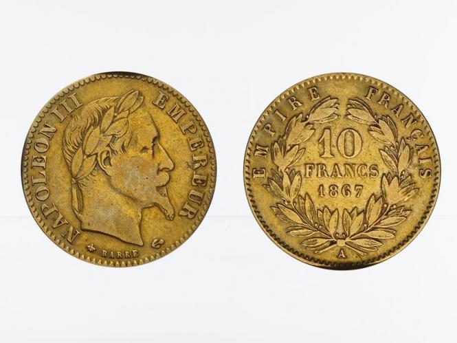 Frankreich 10 Fr. Napoleon III/ Kranz 1867 (A) Paris