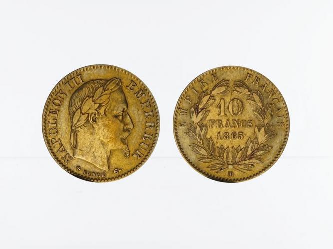Frankreich 10 Fr. Napoleon III/ Kranz 1865 (BB)
