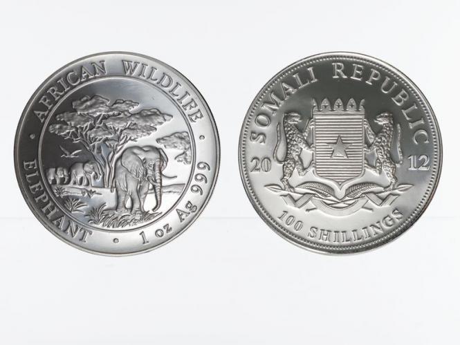 Somalia 100 Sh. Elefant  2012, 1 Unze
