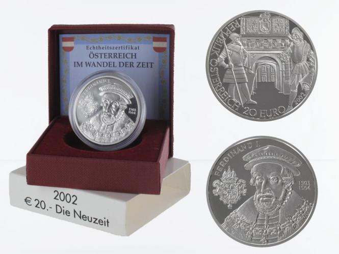 Österreich 20 Euro Silber, 2002, Neuzeit PP