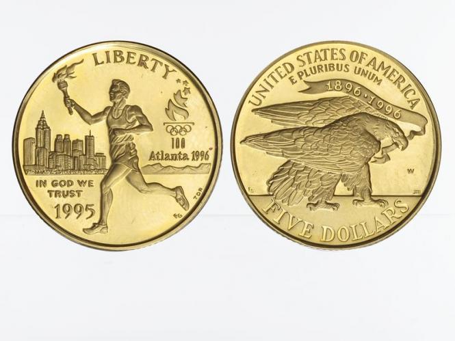 USA 5 $  Gold, Fackelläufer 1995 (W), PP