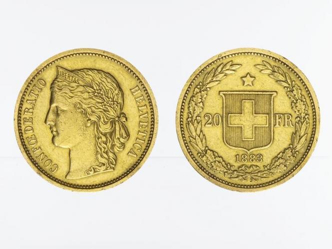 Schweiz 20 Franken Helvetia Goldmünze 1883