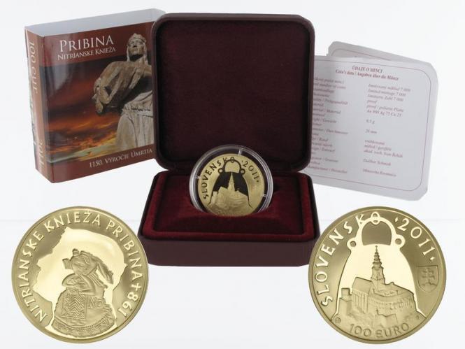 Slowakei 100 Euro Gold, 2011, Fürst Pribina