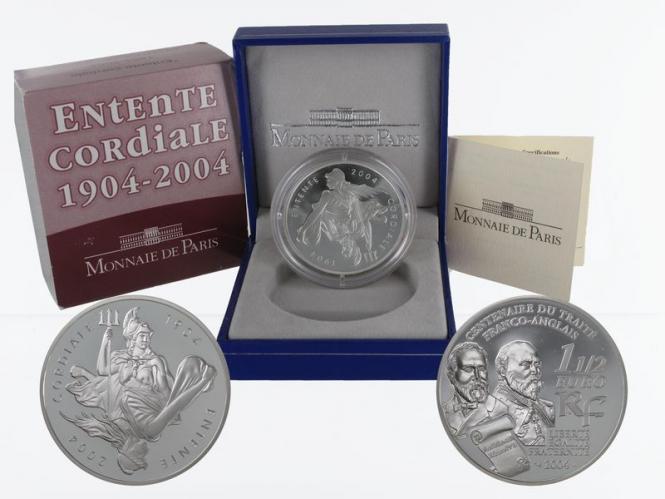 Frankreich 1,5 €  Entente Cordiale 2004 PP, Silber