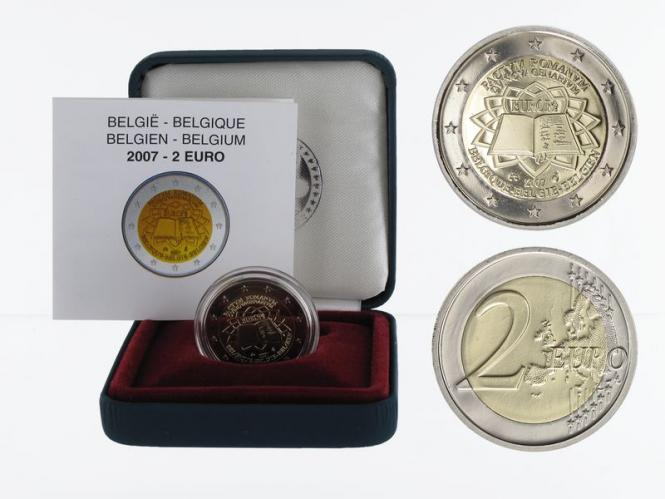 Belgien 2 € Römische Verträge, 2007 PP in Originalbox