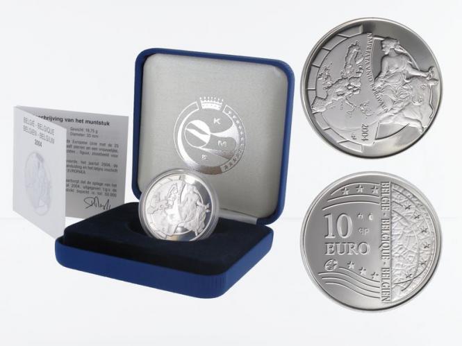 Belgien 10 €  EU-Erweiterung 2004 PP, Silber