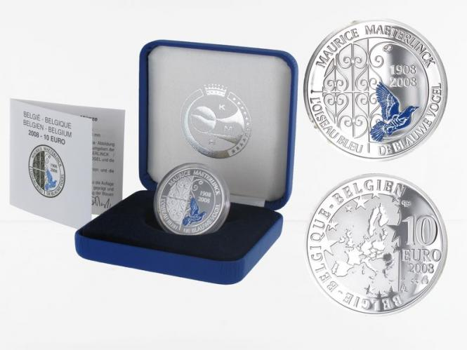 Belgien 10 €  Blauer Vogel 2008 PP, Silber