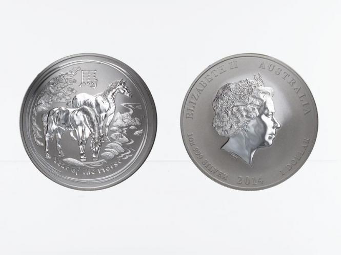 Australien 1$ Pferd Lunar II  2014, 1 oz  Silber