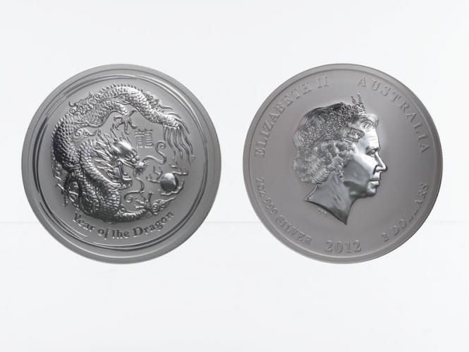 Australien 2$ Drache Lunar II  2012, 2 oz  Silber