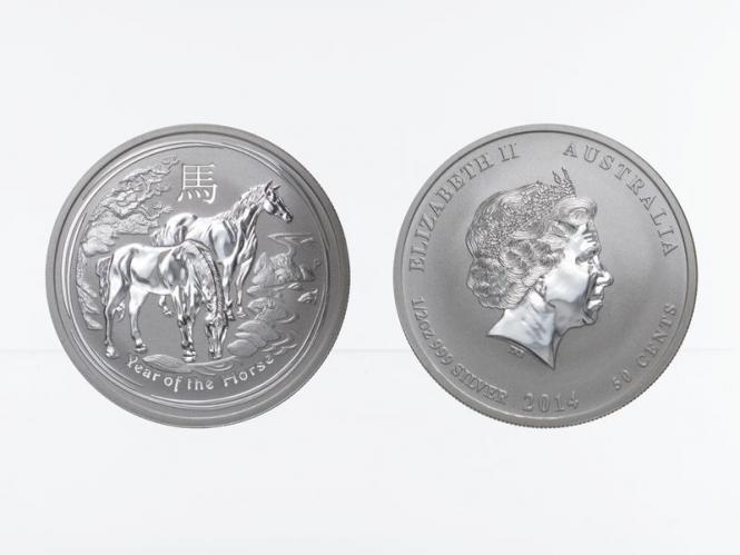 Australien 1/2$ Pferd Lunar II  2014, 1/2 oz  Silber