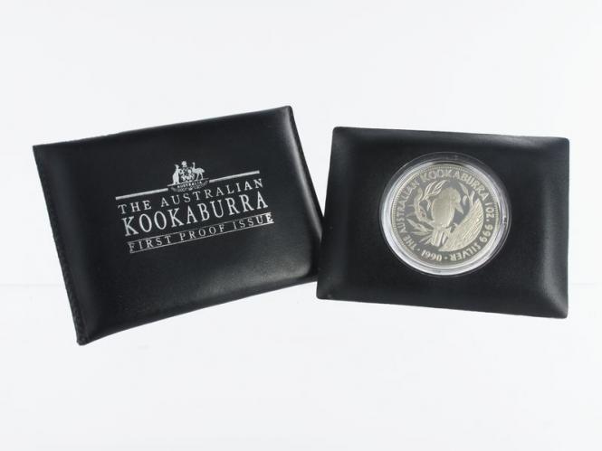 Australien 5$ Kookaburra 1990, 1 oz  Silber PP im Lederetui