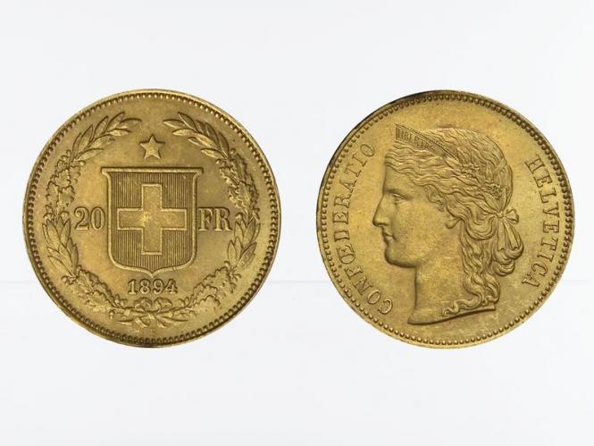 Schweiz 20 Franken Helvetia Goldmünze 1894