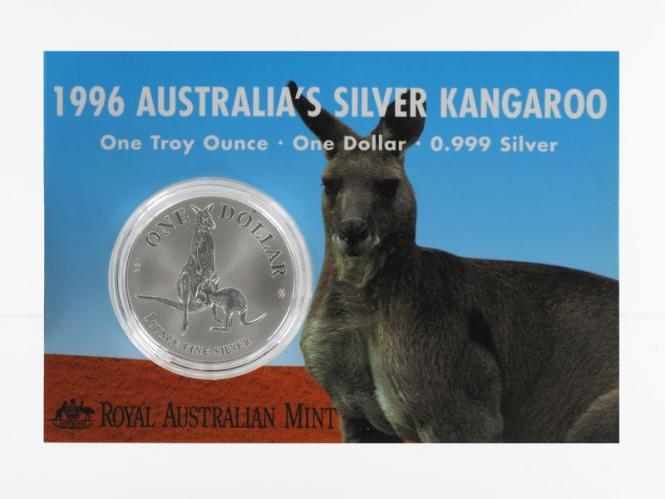 Australien 1$ Känguru 1996, 1 oz  Silber Blister
