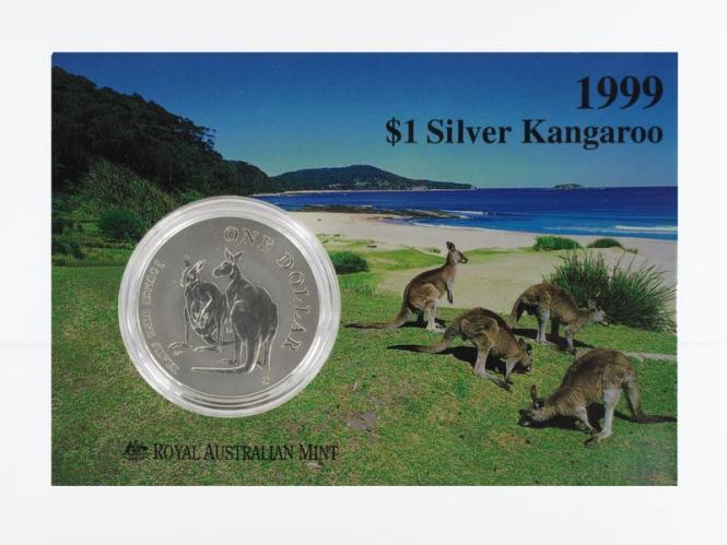 Australien 1$ Känguru 1999, 1 oz  Silber Blister