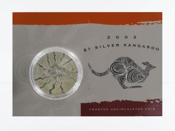Australien 1$ Känguru 2002, 1 oz  Silber Blister