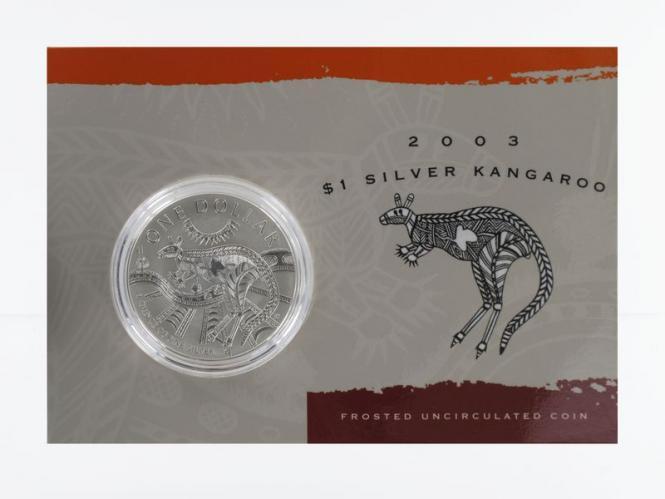 Australien 1$ Känguru 2003, 1 oz  Silber Blister