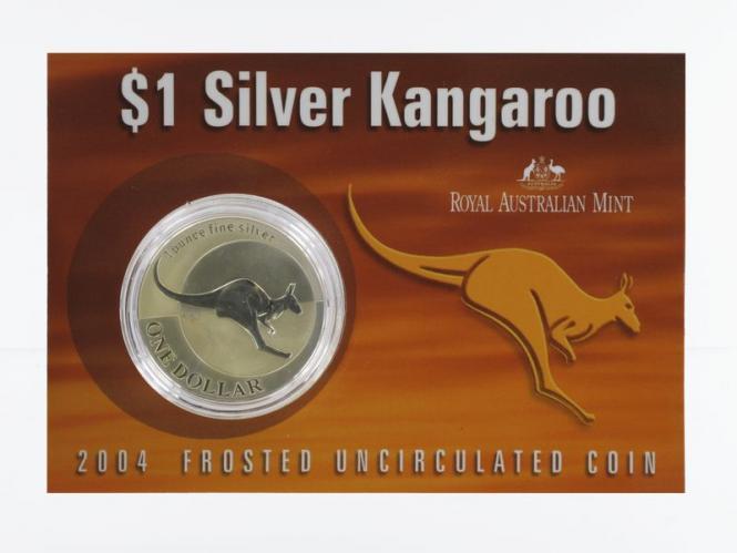 Australien 1$ Känguru 2004, 1 oz  Silber Blister