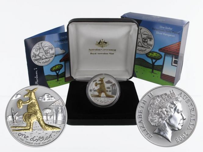 Australien 1$ Känguru 2008 gold plated, 1 oz  Silber