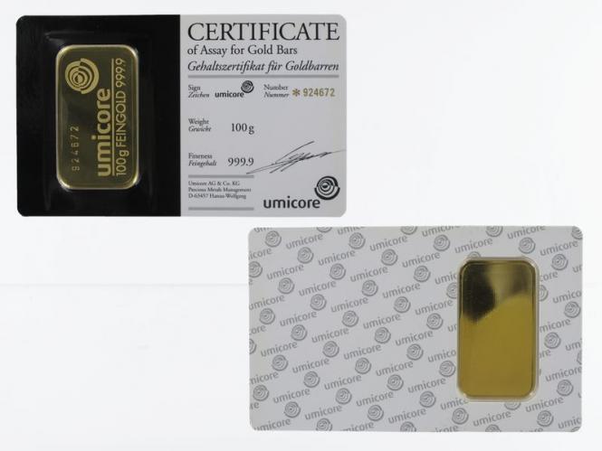 100 Gramm Goldbarren 999,9 Feingold, Zertifikat