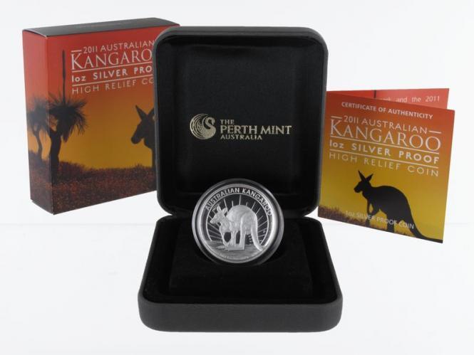 Australien 1$ Känguru 2011, high relief PP, Box + CoA