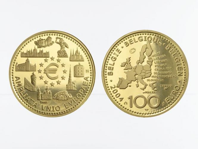 Belgien 100 Euro Gold, EU-Erweiterung 2004, original