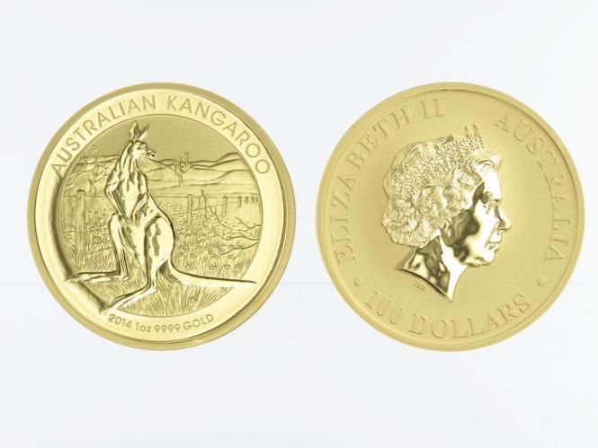 Australien 100 $ Nugget Känguru, 1 Unze  2014